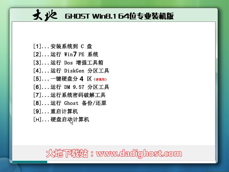 大地系统 Ghost Win8.1 X64 专业装机版 202007