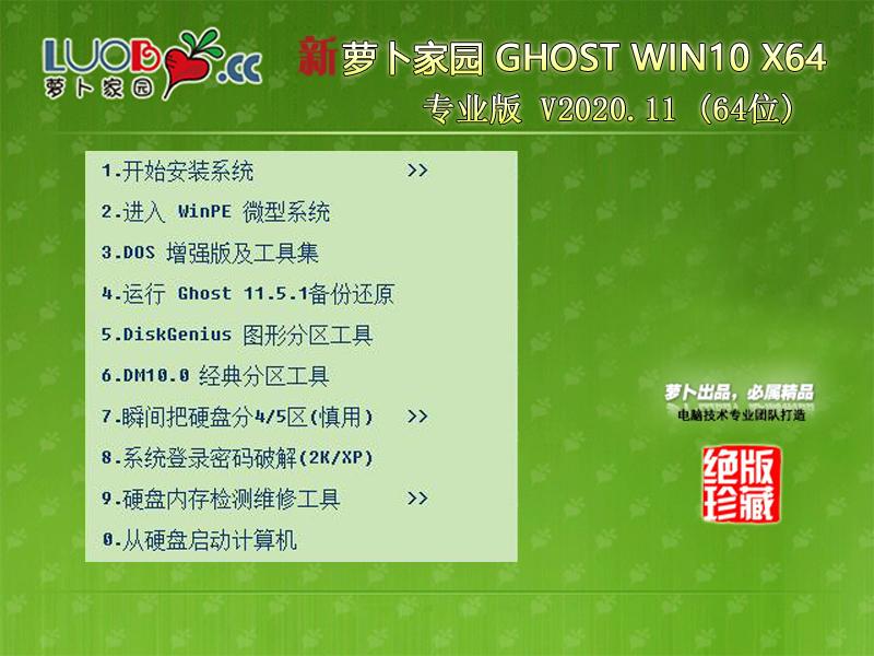 新萝卜家园 Ghost Win10 X64 专业版 202011