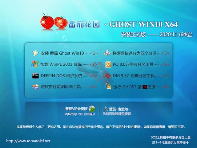 番茄花园 Ghost Win10 X64 美化版 202011